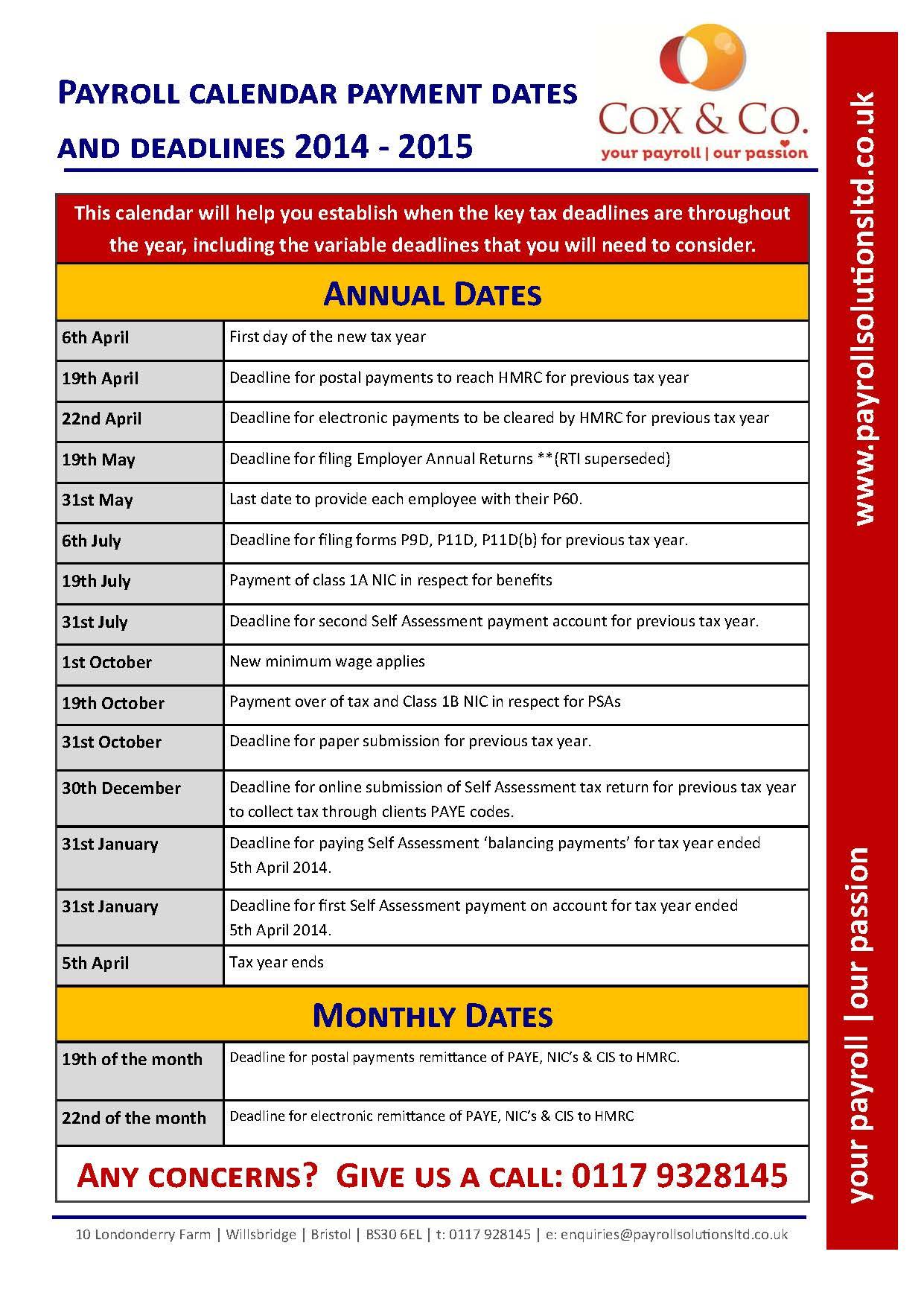 Payroll Calendar 2014 - 2015: HMRC Dates and Tax Deadlines |
