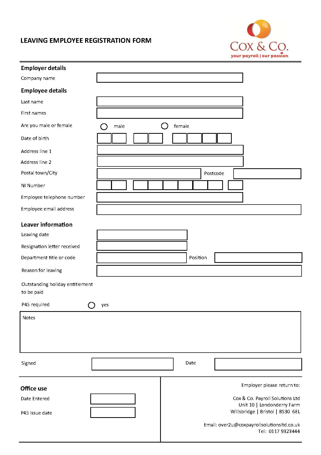 Payroll forms - Cox & Co